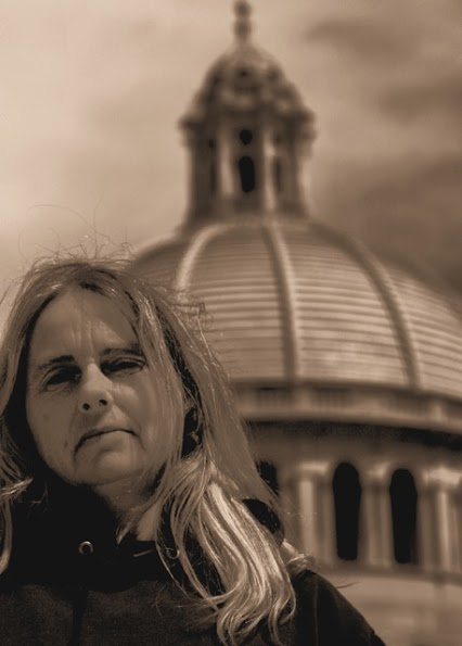 Liz Heywood in front of The Mother Church Boston
